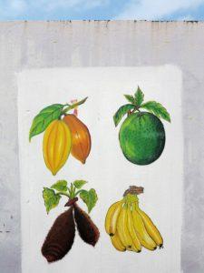 Sao Tomè, murale che raffigura la carambòla, la fruta-pao, la matabala e la banana   (foto Giorgio Pagano)